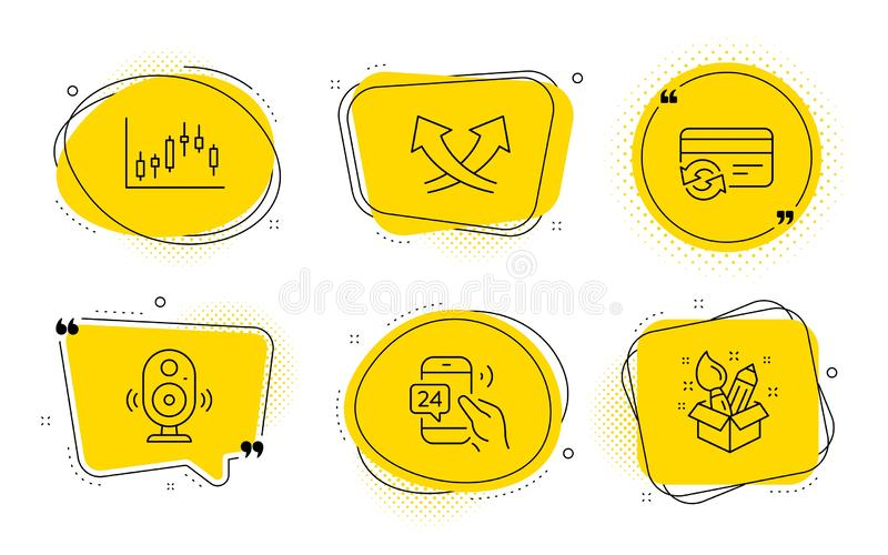 Intersection arrows, Change card and 24h service icons set. Speaker, Candlestick graph and Creativity signs. Vector. Speaker, Candlestick graph and Creativity vector illustration