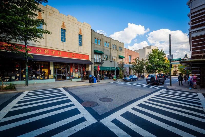 Intersection and buildings in downtown Asheville, North Carolina.  royalty free stock photo