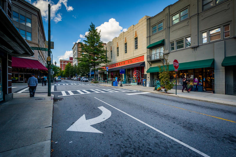 Intersection and buildings in downtown Asheville, North Carolina.  royalty free stock photography