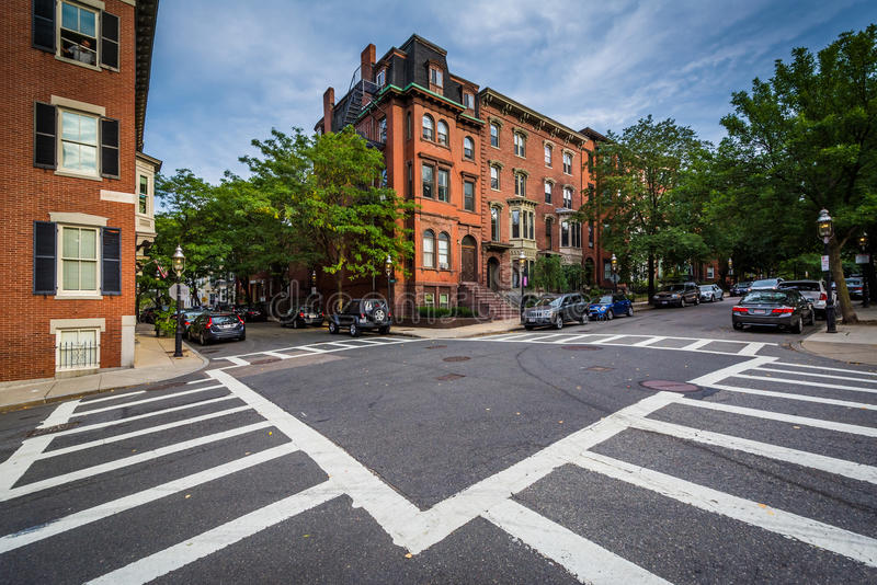 Intersection in Bunker Hill, Charlestown, Boston, Massachusetts. royalty free stock images