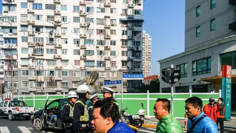 Intersection de nord de Zhongshan et de routes de Wuning image stock
