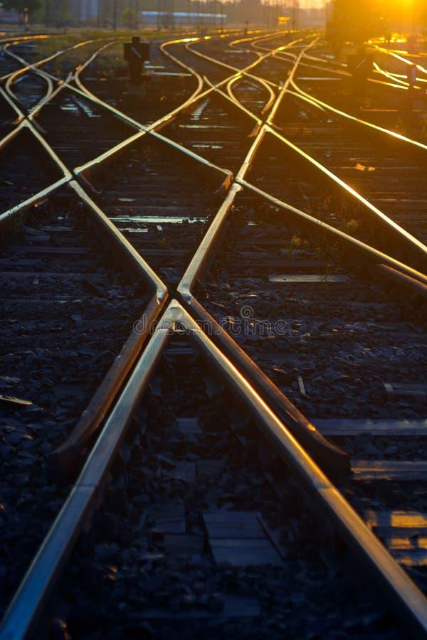 Intersection de voies de chemin de fer photo libre de droits