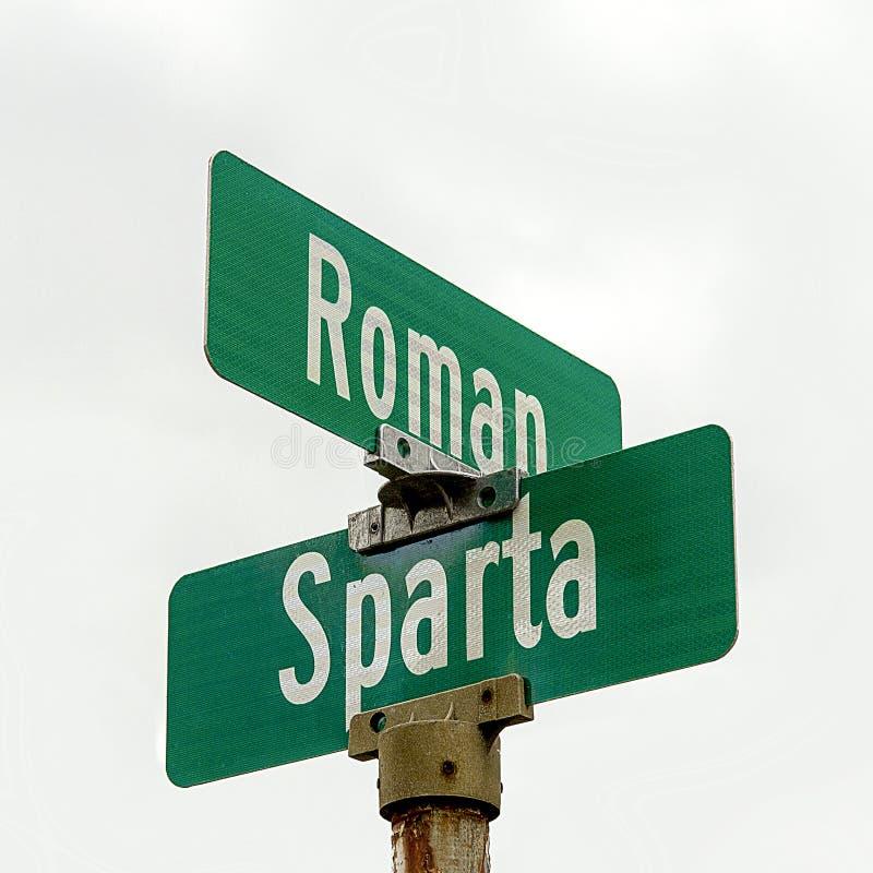 Intersection des rues romaines et de Sparte photos libres de droits