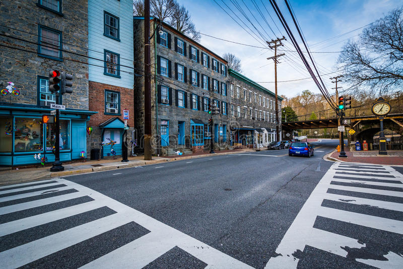 Intersection in downtown Ellicott City, Maryland. stock image