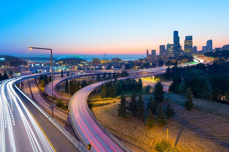 Intersection entre I-5 et I-90 à Seattle, photographie stock libre de droits