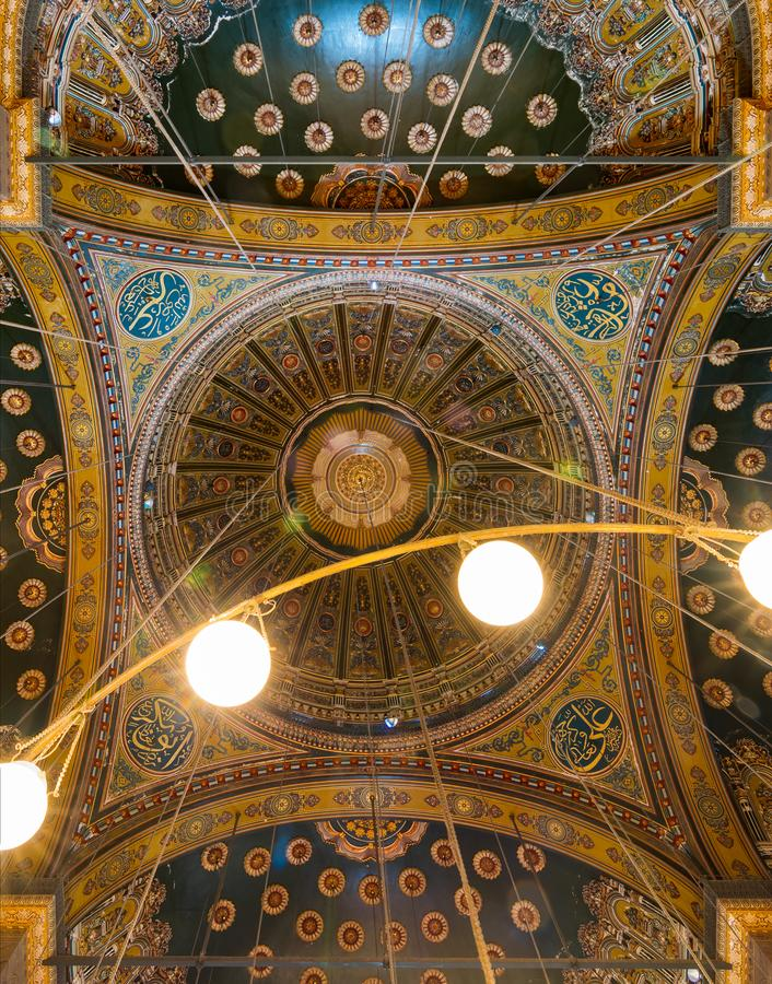 Intersection of four domes decorated with floral patterns, Muhammad Ali Mosque, Citadel of Cairo. Ceiling of the great Mosque of Muhammad Ali Pasha - Alabaster royalty free stock image