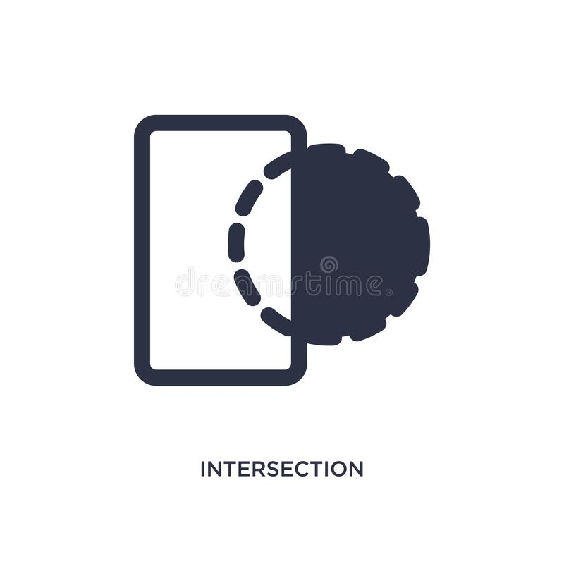 intersection icon on white background. Simple element illustration from geometric figure concept vector illustration