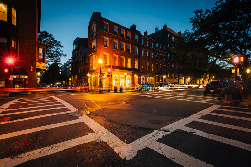 The intersection of Pinckney Street and Charles Street at night, in Beacon Hill, Boston, Massachusetts. royalty free stock photos