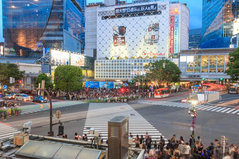 Intersection on Shibuya, Tokyo, Japan stock photography