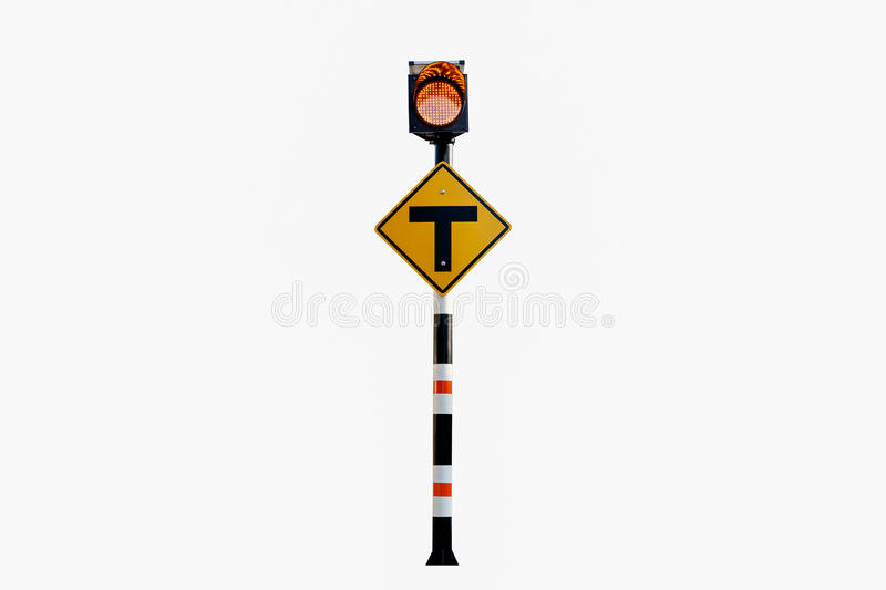 3 Intersection Sign,Solar powered traffic signs , traffic signs. On white background stock images