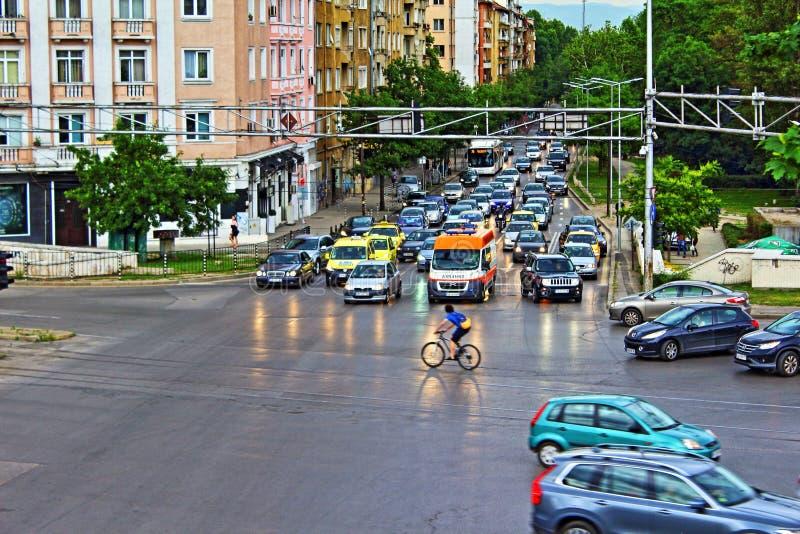 Intersection Sofia Bulgaria de ville photo libre de droits