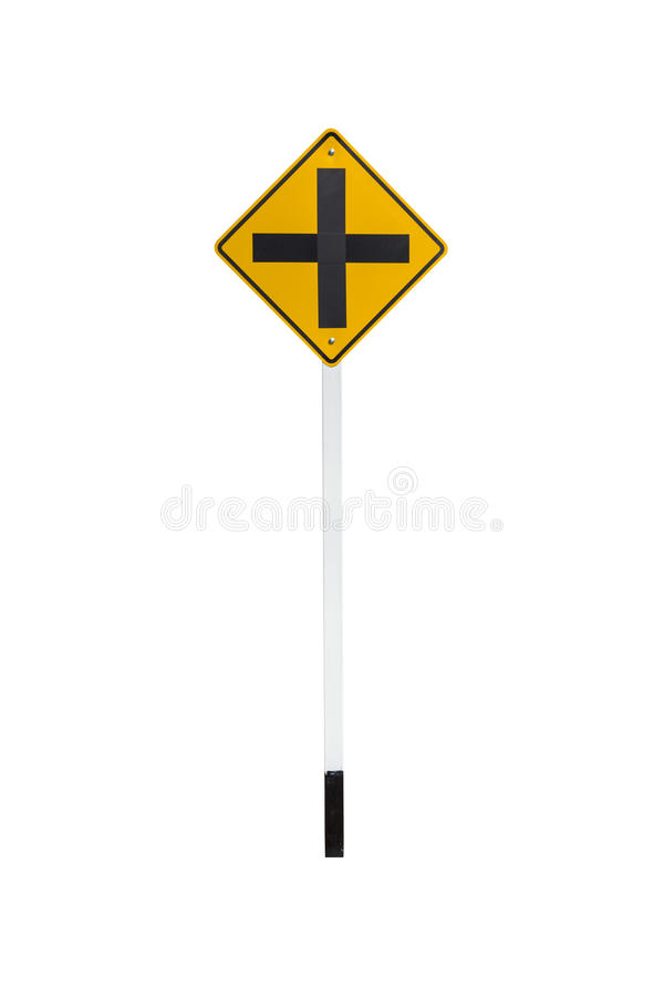 4 intersection traffic sign. Intersection traffic sign isolated on white background royalty free stock images