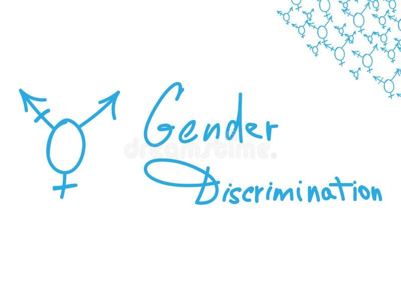 Intersex symbol with handwritten text. GENDER DISCRIMINATION stock illustration