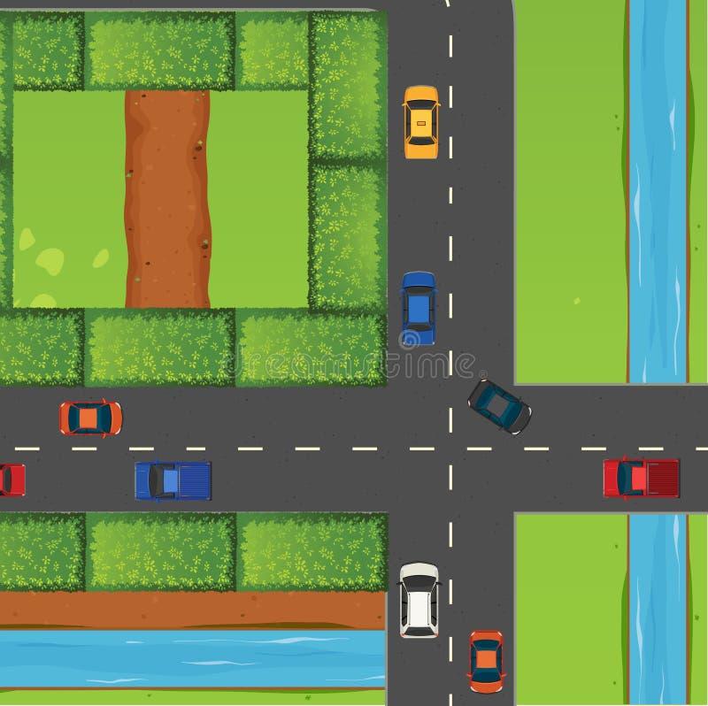 Intersezione con molte automobili illustrazione vettoriale