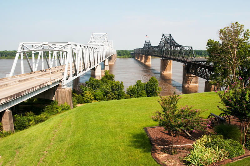 Interstate 20 bridge at Vicksburg, MS stock photos