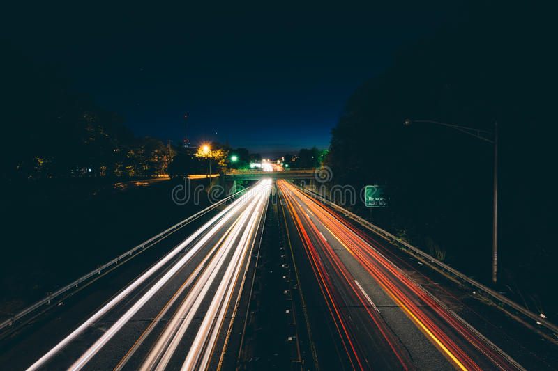 Interstate 40 Business at night, in downtown Winston-Salem, North Carolina. royalty free stock images