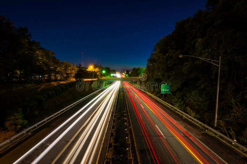 Interstate 40 Business at night, in downtown Winston-Salem, North Carolina. royalty free stock photography