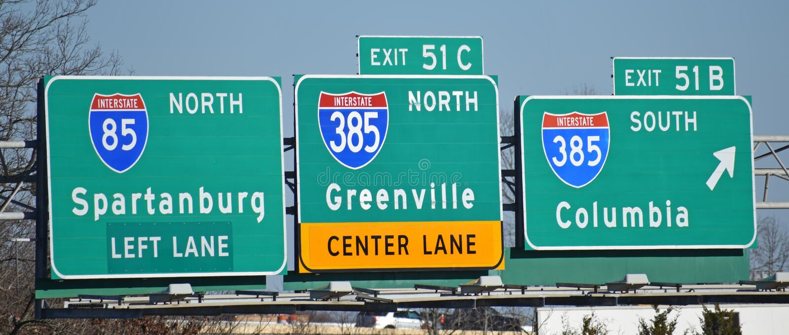 Interstate highway Directional Signs on I-85. Reflective signs direct motorists on a South Carolina interstate highway stock image