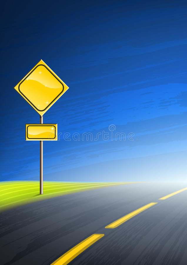 Interstate highway and an empty yellow road sign vector illustration