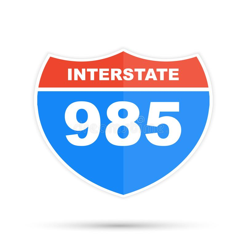 Interstate highway 985 road sign. Flat vector stock illustration on white background. Interstate highway 985 road sign. Flat vector illustration on white stock illustration