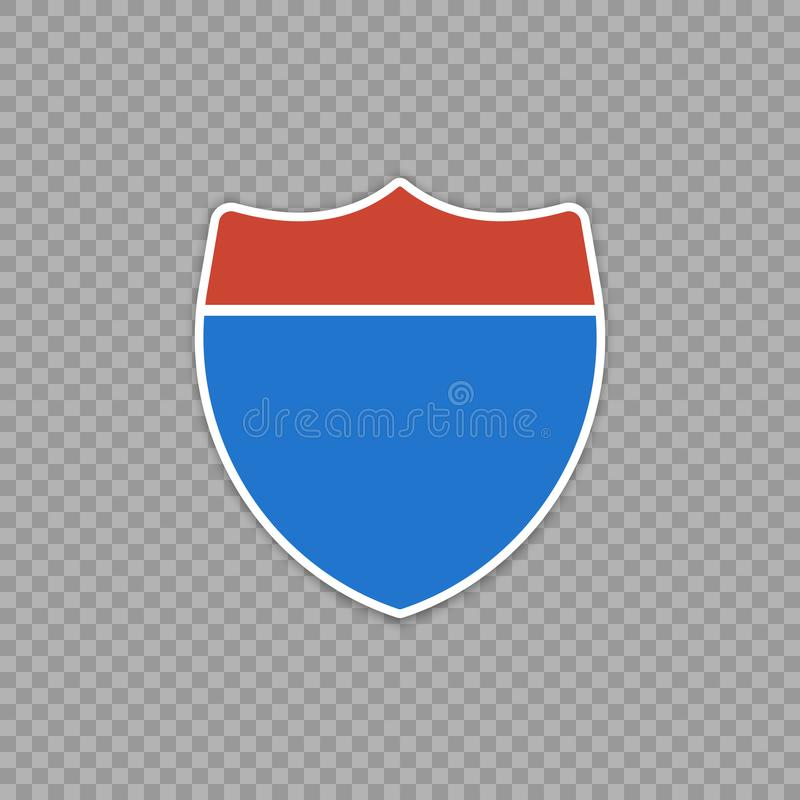 Interstate highway road sign. Isolated on a transparent background. royalty free illustration