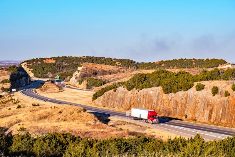 Interstate highway running through a winding rocky pass stock photos
