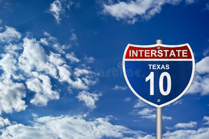 Interstate road sign Texas stock image