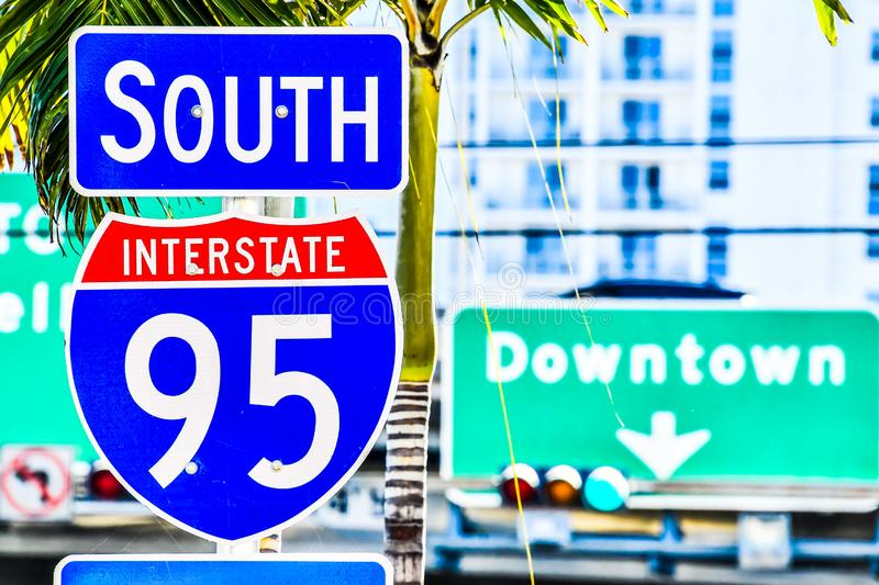 Interstate 95 street sign with blue sky , miami city florida usa america. Welcome to fabulous sign, photo as a background, digital image stock photos