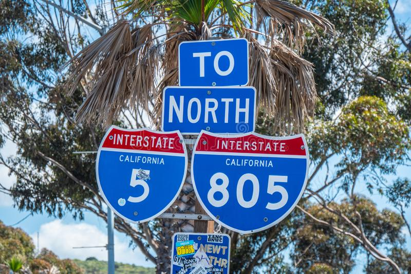 Interstate street signs in California. Travel photography stock images