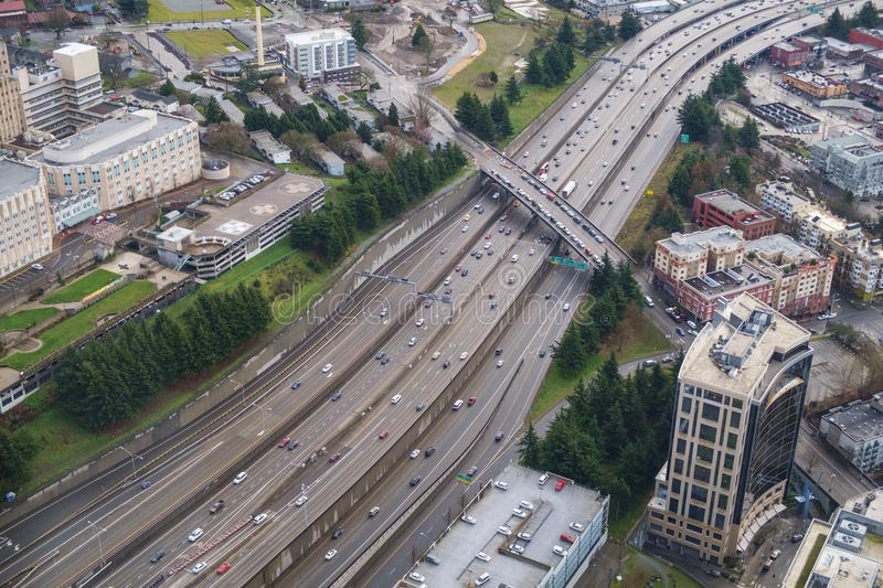 Interstate 5 and Yesler Way. Yesler Way overpass crosses Interstate 5 in Seattle, Washington stock photo