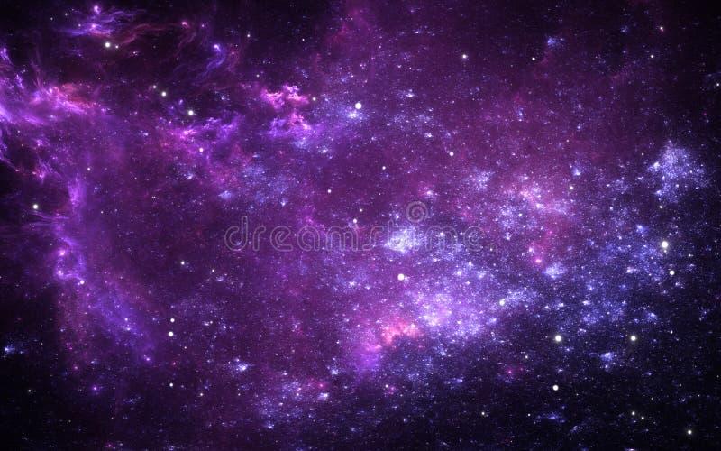 Interstellaire wolk van stof en gas Ruimteachtergrond met nevel en sterren Gloeiende nevel stock illustratie