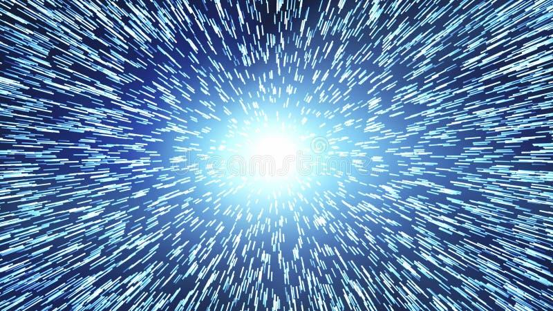 interstellar curso do tempo e salto hyper no espaço Singularidade, ondas gravitacionais e conceito do spacetime ilustração royalty free