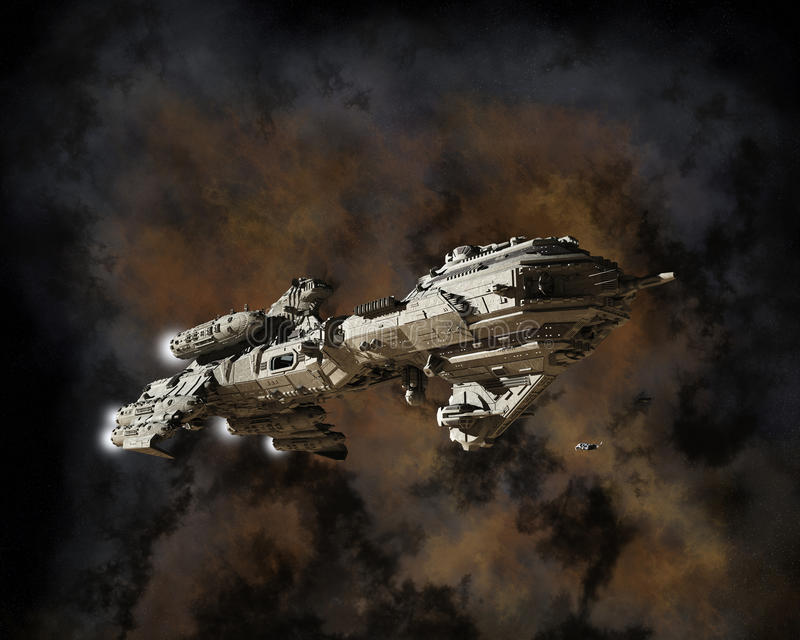 Interstellar Escort Frigate and Nebula. Science fiction scene of a futuristic interstellar escort frigate with nebula background, 3d digitally rendered stock illustration
