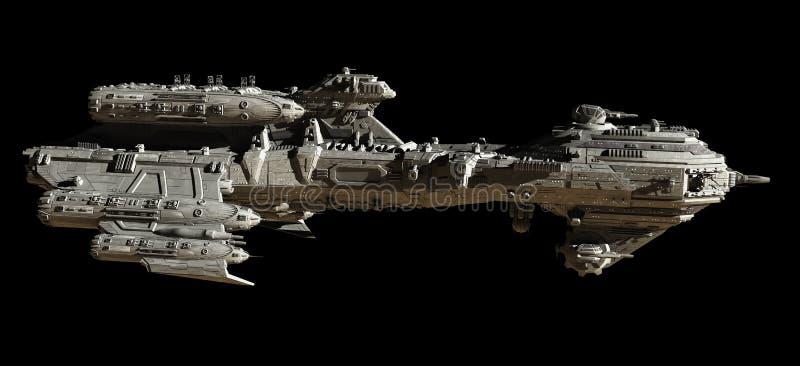 Interstellar Escort Frigate - side view. Science fiction illustration of a futuristic interstellar escort frigate spaceship - side view on black background, 3d stock illustration