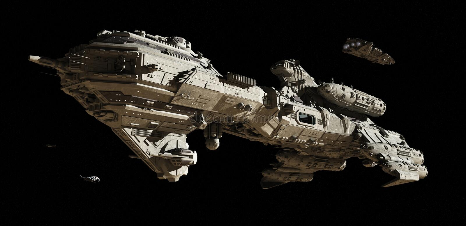 Interstellar Futuristic Escort Frigate. Science fiction scene of a futuristic interstellar escort frigate and small scout ships travelling through deep space, 3d stock illustration