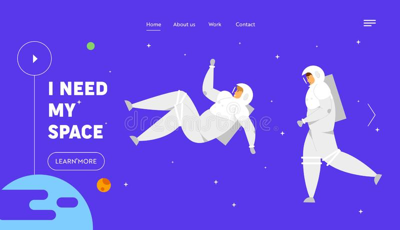 Interstellar Journey Website Landing Page, Astronauts in Space Suits Fly in Outer Space Background, Cosmonauts. In Charge of Maintenance, Exploration Web Page stock illustration