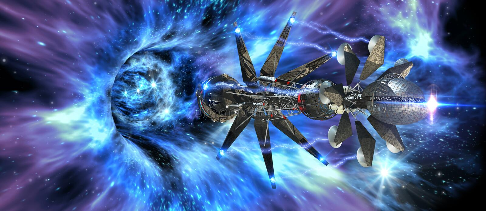 Interstellar spaceship entering a wormhole. Futuristic interstellar spacecraft entering a wormhole, for alien fantasy games or science fiction backgrounds of vector illustration