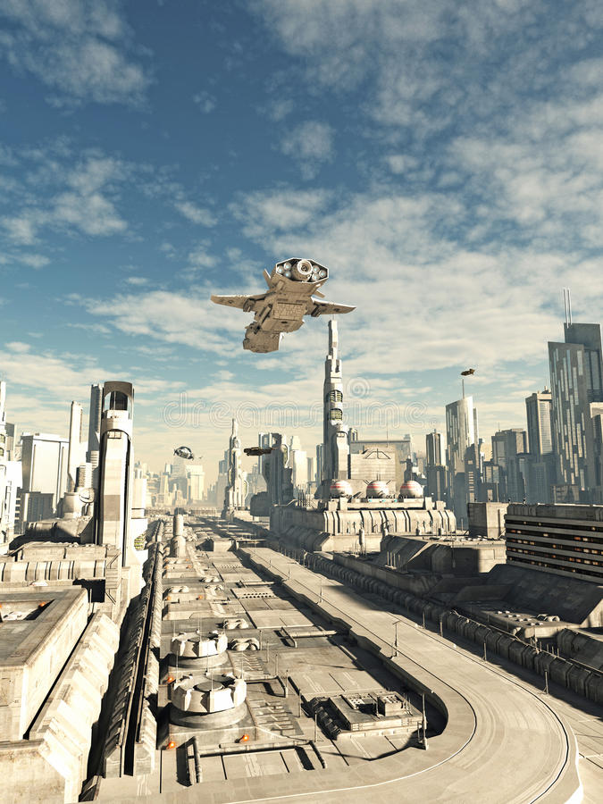 Interstellar Spaceship on Final Landing Approach. Science fiction illustration of an interstellar space ship on its final approach to landing in a futuristic sci royalty free illustration