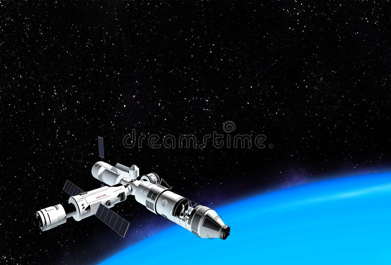 Interstellar spaceship flying near blue planet in outer space. royalty free illustration