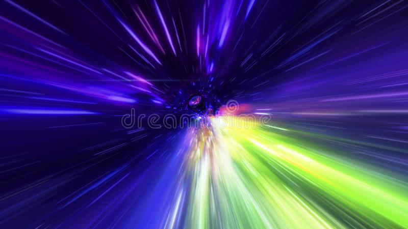 Interstellar, time travel and hyper jump in space. Flying through wormhole tunnel or abstract energy vortex. Singularity, gravitat vector illustration