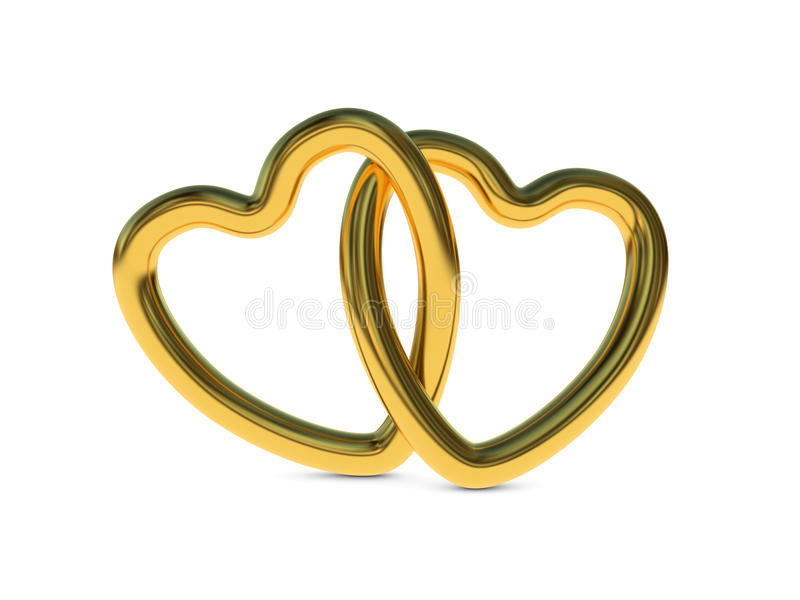 Intertwined gold heart rings royalty free illustration