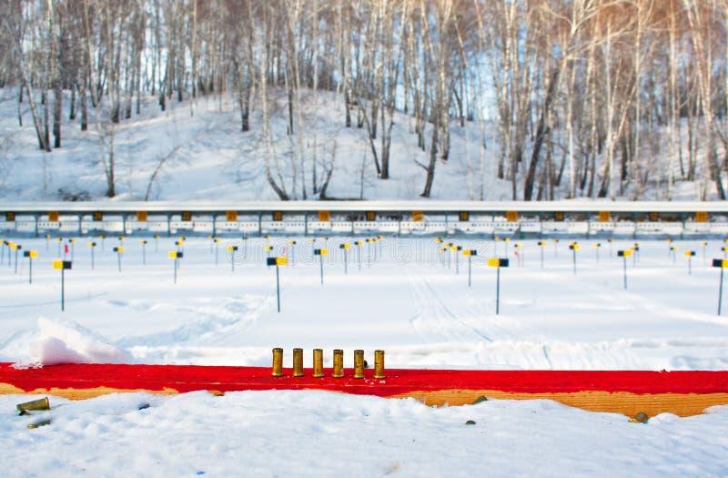 Intervalle de tir de Biathlon photos stock