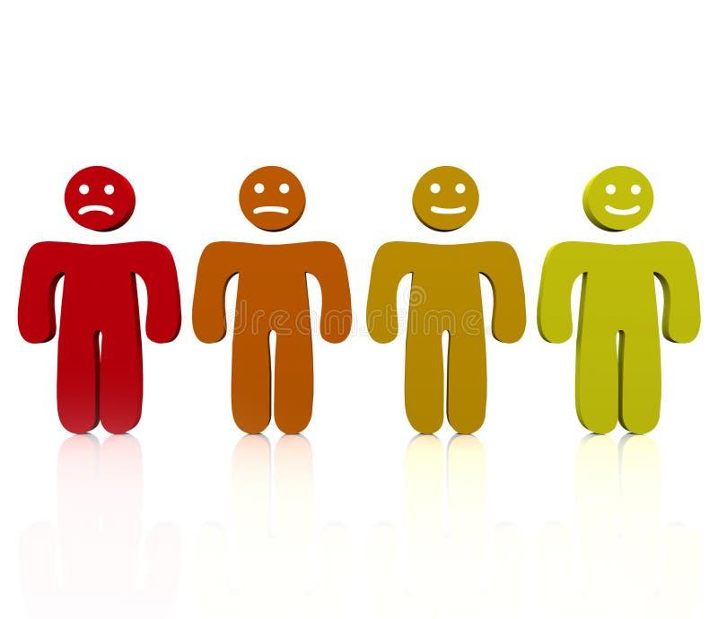Intervalle des émotions - folles à heureux illustration stock