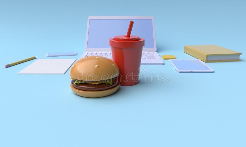 Intervallo di pranzo rappresentazione 3d illustrazione di stock