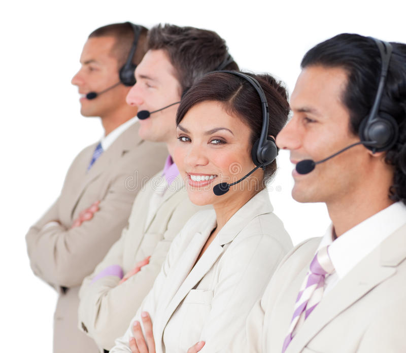 Intervenants du service client restant dans une ligne photo libre de droits