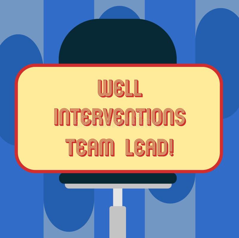 Intervenciones bien Team Lead del texto de la escritura Concepto que significa el espacio en blanco de la ingeniería de la indust stock de ilustración