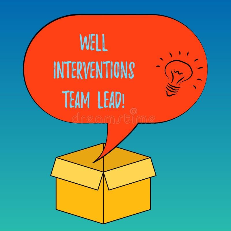 Intervenciones bien Team Lead del texto de la escritura Concepto que significa el icono de la idea de la ingeniería de la industr stock de ilustración