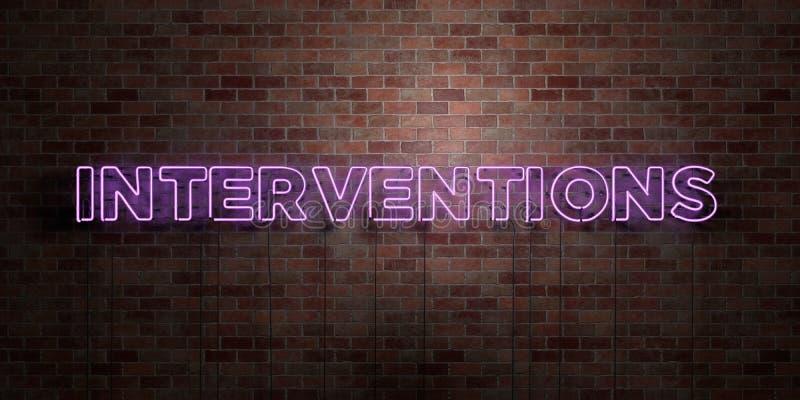 INTERVENCIONES - muestra fluorescente del tubo de neón en el ladrillo - vista delantera - imagen común libre rendida 3D de los de libre illustration