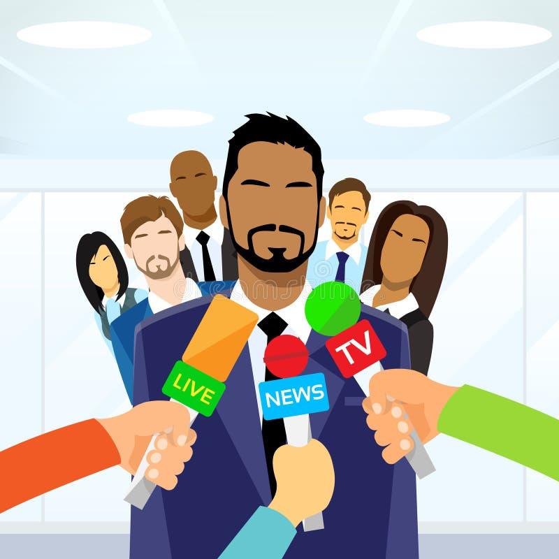 Interview Businessman Team Leader Hands with. Microphones Flat Vector Illustration stock illustration