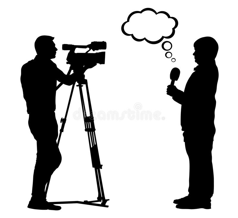 Interview cameraman silhouette. News reporter. royalty free illustration